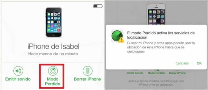 modo perdido iphone